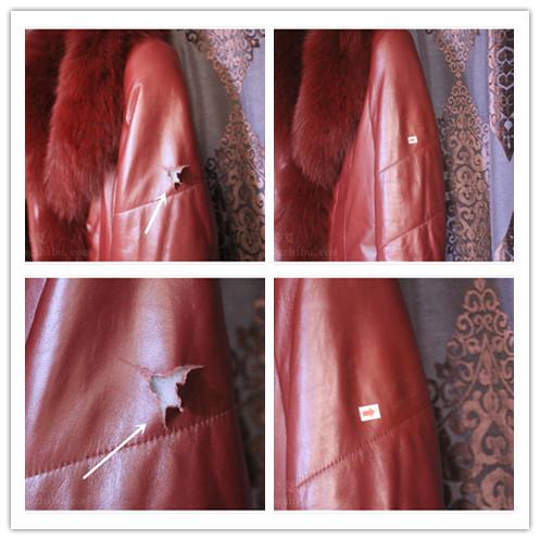 女士红色皮衣袖子修补案例